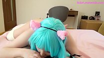 Blue hair cat girl gives sloppy blowjob deepthroat image