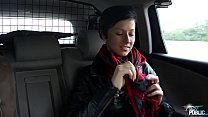 Dirty short hair slut ride ugly fake agents cock in public thumbnail