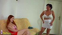 OldNanny Busty BBW lady and lesbian redhead teen pornhub video