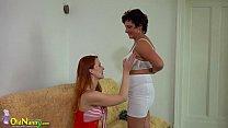 OldNanny Busty BBW lady and lesbian redhead teen image
