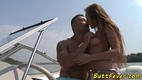 European babe assfucked hard on a speedboat's Thumb