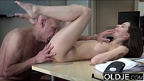 7973 Teen open mouth cumshot and swallow after riding old man cock preview