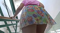 Voyeur in public places looks under the skirts of girls with juicy butts.