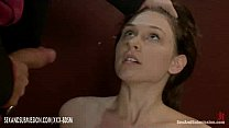 Bound babe gives deep throat blowjob