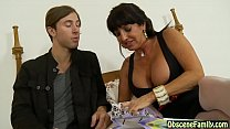 Mature big tits stepmom fucks her son