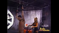 Two ravishing blonde bints whip a horny stallion in the dungeon preview image