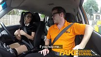 Fake Driving School Sexy Spanish Learner sucks Big Cock for lessons