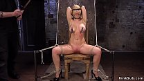 Clamped nipples busty lady tormented