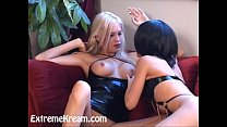 Kream and her two hot lesbian friends having extreme strap on sex