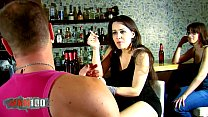 Hot french slut Shannya Tweeks banged by 2 spanish guys in a bar
