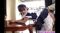 Pretty Asian maid Natsumi exposes hot pussy for...
