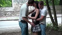 Extreme daring public street sidewalk threesome sex gang bang orgy with a petite