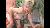 Dirty blonde grandma gets fucked before sucking off younger guy's dick