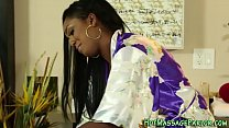 Ebony masseuse jizzing