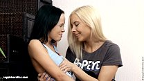 Footstool Fondlers by Sapphic Erotica - lesbian love porn with Liza - Angellina