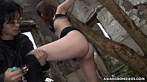 Two perverted freaks toy tied up babes mouth and snatch