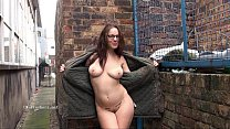Geeky outdoor public nudity of sexy skinny babe flashing boobs and showing Preview
