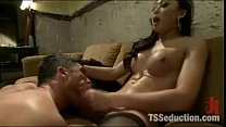 Ladyboy Mistress Cums On Boy Slave!
