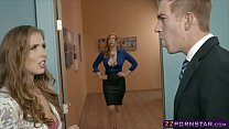 Office boss fucks his secretary and a busty MIL...