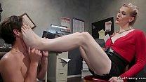 Blonde TS parole officer anal fucks guy