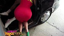 Female Fake Taxi Stud gives busty blonde milf a creampie on taxi bonnet preview image