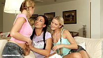 Indoor Threesome on Sapphic Erotica with three young lesbians