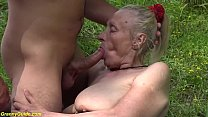 chubby 85 years old granny first time outdoor sex preview image