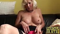 Horny british mature Molly masturbates with hitachi wand Image