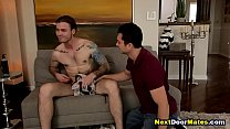 Gay jock and his boyfriend's hot brother - bareback anal sex