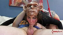 Hot girl turned into monkey for rough anal humi...