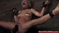 Blonde nipple clamped bdsm sub punished preview image