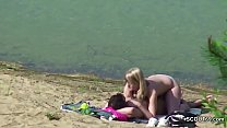 Voyeur Young German Couple Fuck at Beach of Ham...
