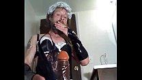 crossdresser fun with dildo
