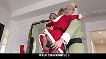MYLF - Big Tits Blonde Milf Takes Turns Fucking Her Stepsons On Christmas