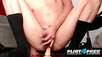 Flirt4Free   Mike Bass   College Twink Sits On