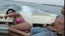Guys In Party Mood Take Lovely Brunette In Bikini On A Boat Trip Vorschaubild