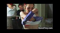 97 Lbs Tiny Teen Maid Gets Throated!