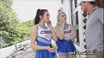Cheerleaders sharing coaches hard cock
