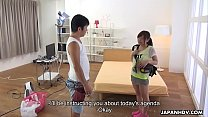 Japanese babe, Mei Wakana is eagerly eating loa...