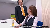 Obedient Japanese secretary works hard for a mo...