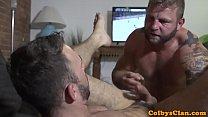 Straight muscle bear pounds ass balls deep