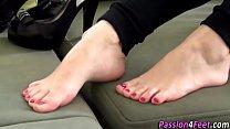 European babe shows feet