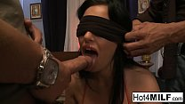Blindfolded brunette gets surprised with a threesome صورة
