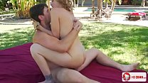The young bloke has a busty old woman; public,