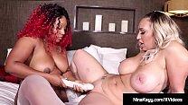 Nympho Nina Kayy Bangs Dildo With Ebony Thick Red!