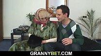 Lonely old grandma sucks and rides his cock Vorschaubild