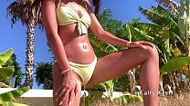 Crazy girl 18 y.o. pee on a public beach right in her panties. Wet her panties and went to sunbathe