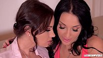 Lesbians Abbie Cat & Anissa Kate Titty Suck, Finger, & Fuck With a Strap-On's Thumb