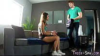 Tricked teen massage cum