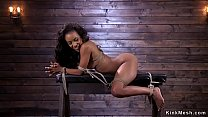 Ebony in brutal bondage tormented